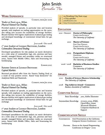 exemple de cv 1 page