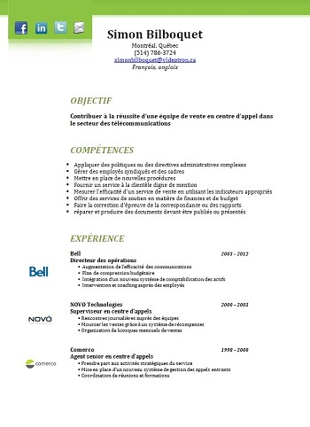 exemple de cv 2014 quebec