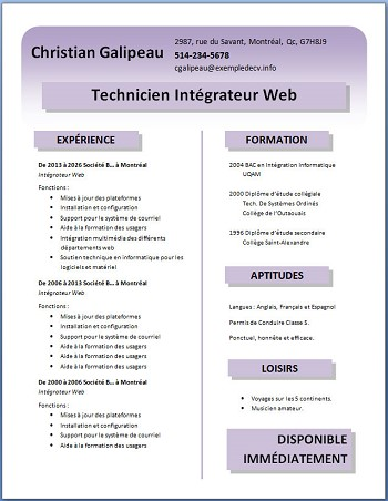 exemple de cv a telecharger