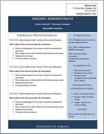 exemple de cv agent administratif