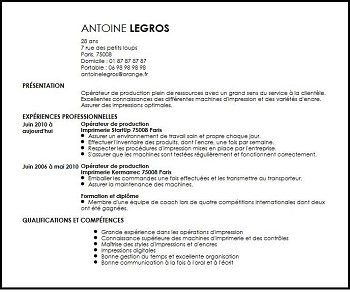 exemple de cv agent de production gratuit