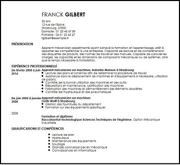 exemple de cv apprentissage