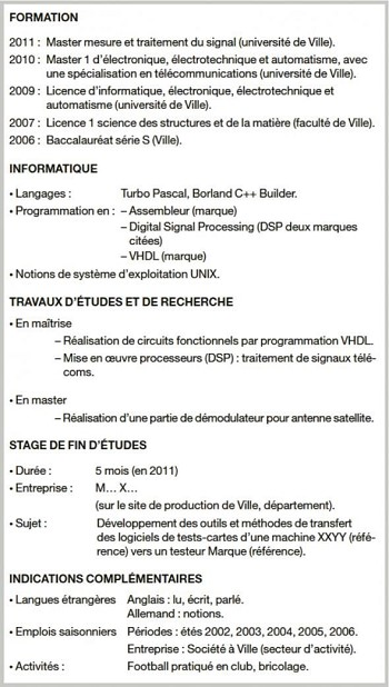 exemple de cv avec 3 references