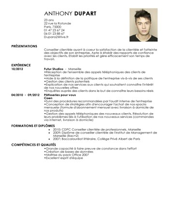 exemple de cv barman