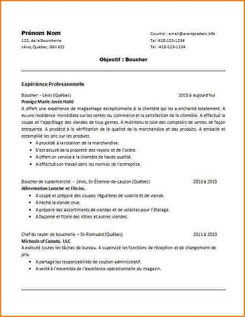 exemple de cv boucher