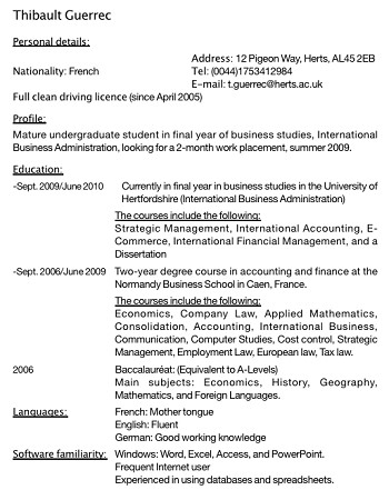 exemple de cv britannique