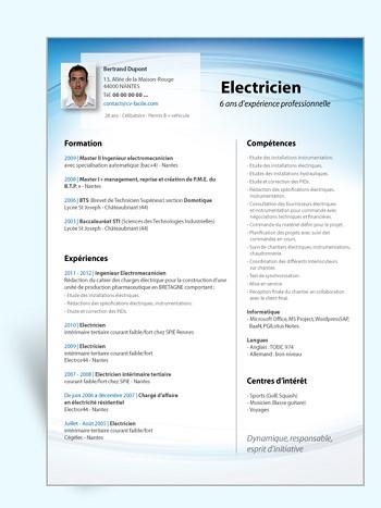 exemple de cv d'electricien