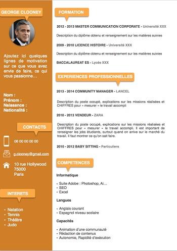 exemple de cv d'etudiant pdf