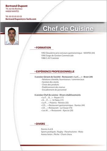 exemple de cv d'un cuisinier
