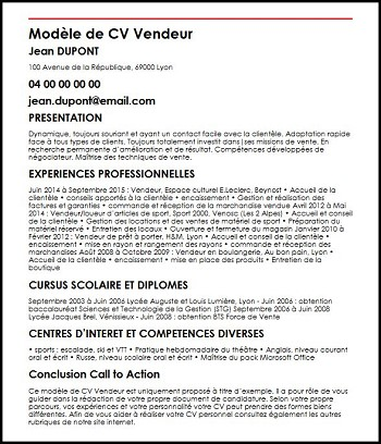 exemple de cv de vendeuse