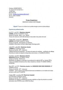 exemple de cv electricien