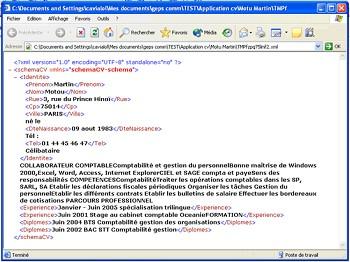 exemple de cv en xml