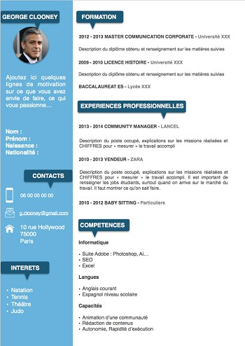 exemple de cv etudiant word