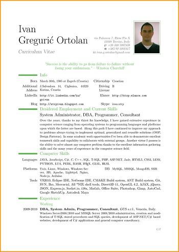 exemple de cv format pdf