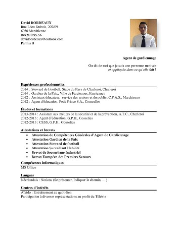 curriculum vitae premier concours gpx exemple