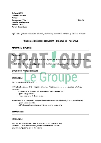 exemple de cv gestion administration