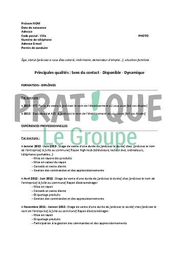 exemple de cv grande distribution