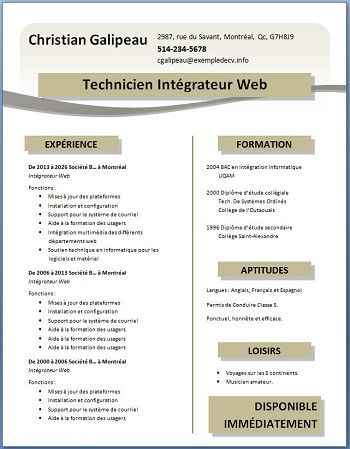 exemple de cv gratuit a telecharger
