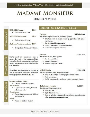 exemple de cv gratuit restauration