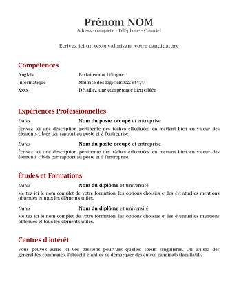 exemple de cv interim