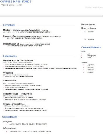 exemple de cv job d'ete