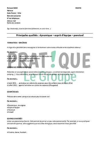 exemple de cv job ete