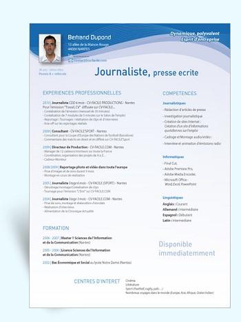 exemple de cv journaliste