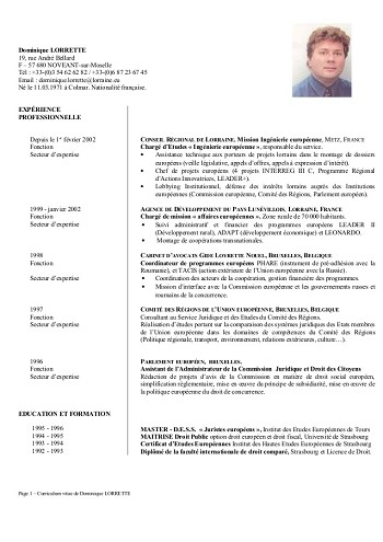 exemple de cv juriste droit des affaires