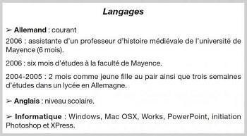 exemple de cv langues