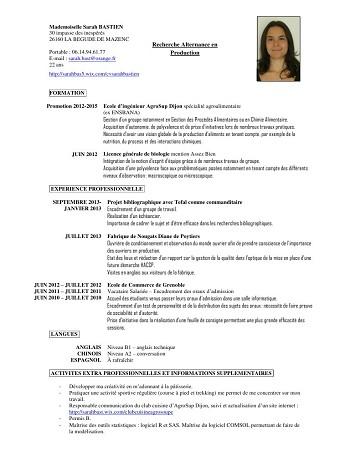 exemple de cv licence professionnelle