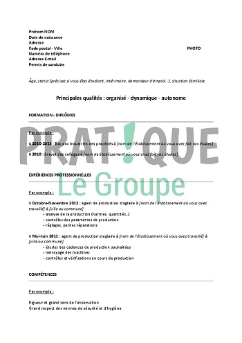 exemple de cv operateur de production