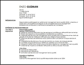 exemple de cv qualiticien