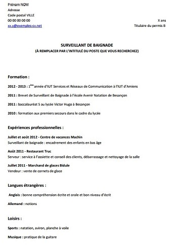 exemple de cv quand on a pas de diplome