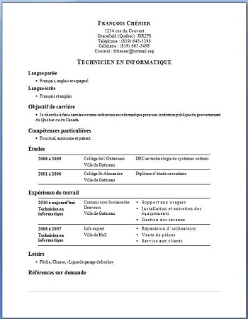 exemple de cv quebec etudiant