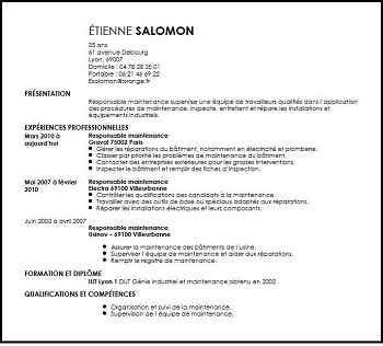 exemple de cv responsable maintenance