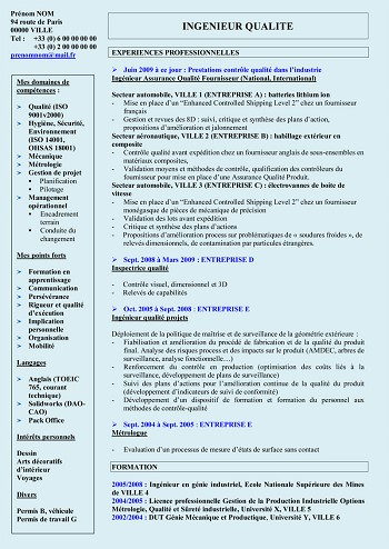 exemple de cv responsable qse