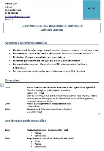 exemple de cv responsable rh