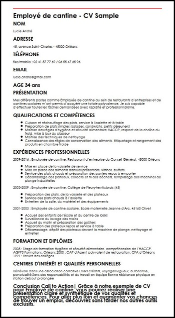 exemple de cv restauration collective