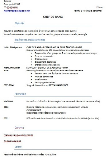 exemple de cv restauration hotellerie