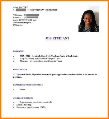 exemple de cv simple etudiant