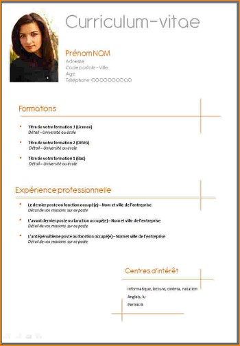 exemple de cv simple pour stage