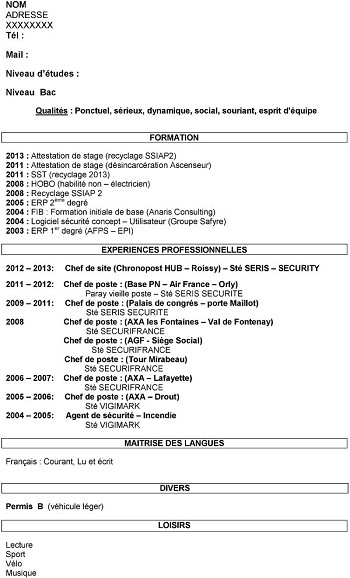 exemple de cv ssiap 2