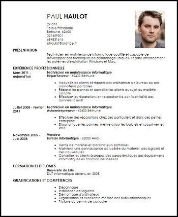 exemple de cv technicien informatique