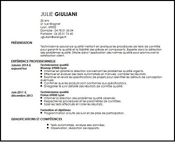 exemple de cv technicien