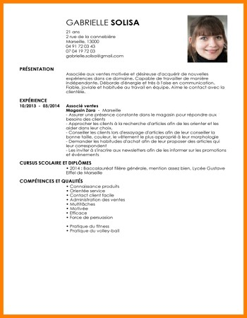 exemple de cv vendeuse