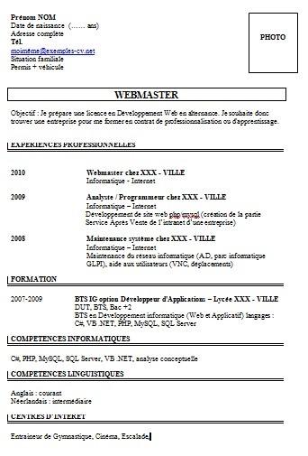 exemple de cv webmaster