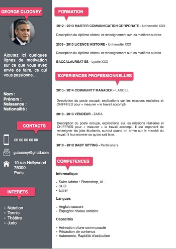 exemple de cv word a telecharger gratuitement