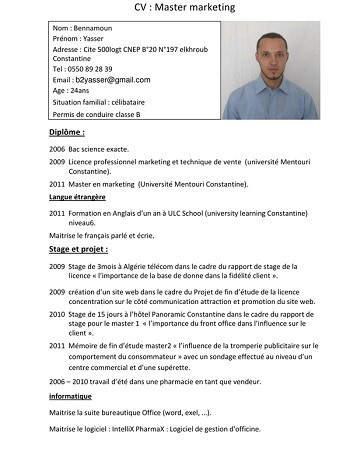 exemple de cv word algerie