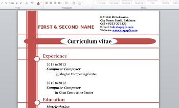 exemple de cv word doc