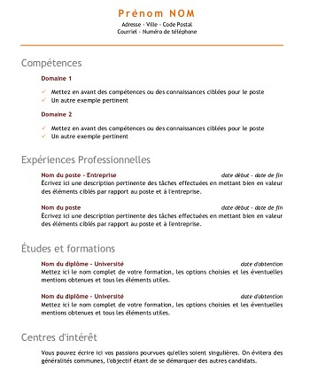 modele de cv avec competence
